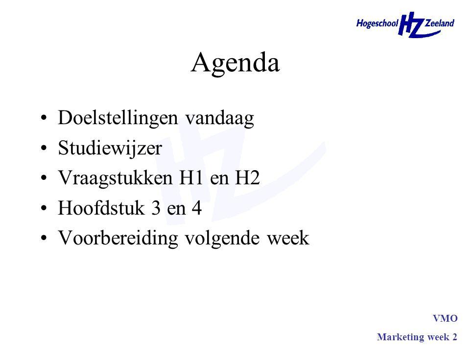 Agenda Doelstellingen vandaag Studiewijzer Vraagstukken H1 en H2