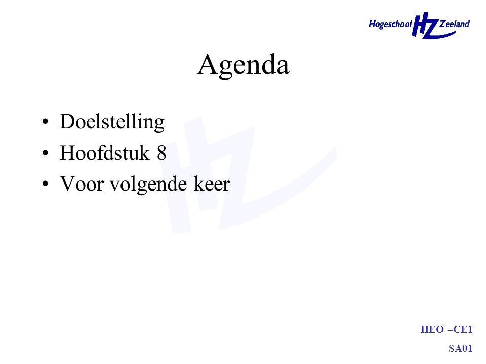 Agenda Doelstelling Hoofdstuk 8 Voor volgende keer