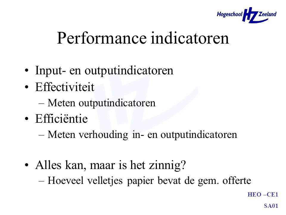 Performance indicatoren