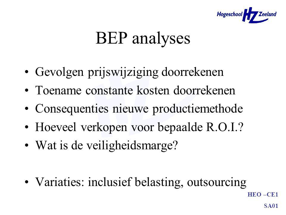 BEP analyses Gevolgen prijswijziging doorrekenen