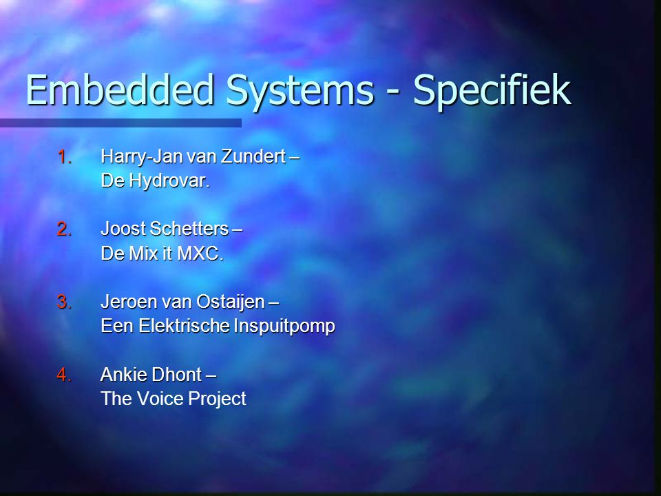 Embedded Systems - Specifiek