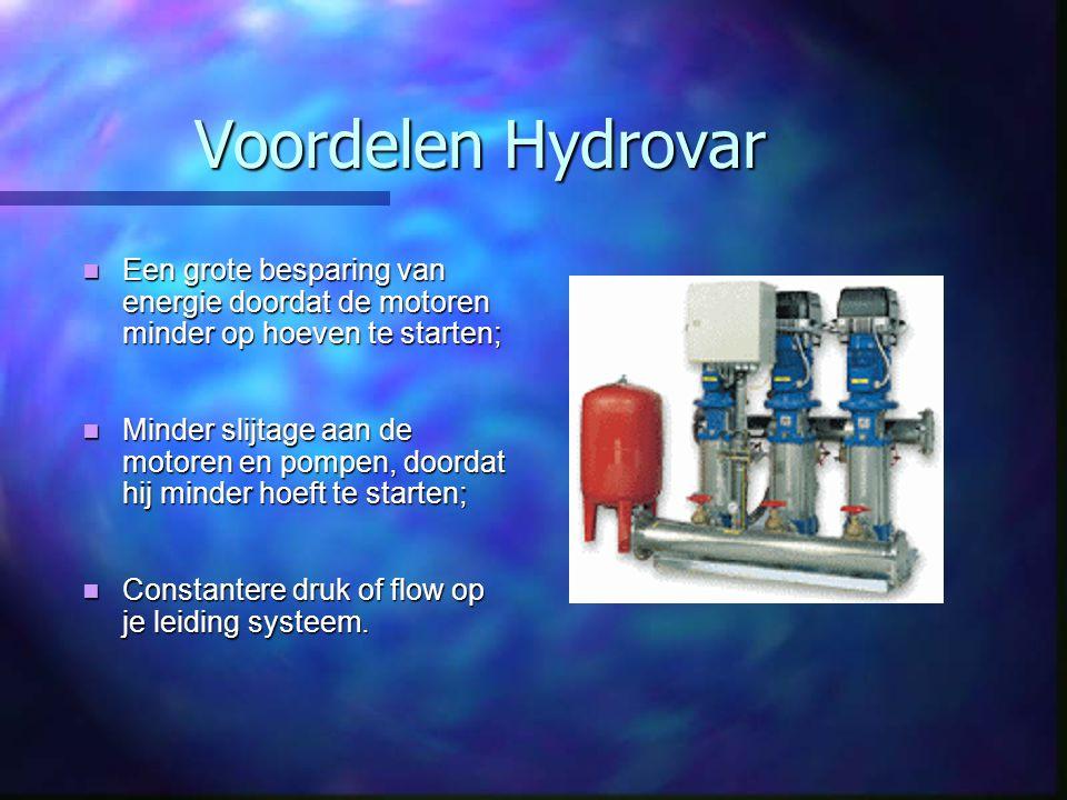 Voordelen Hydrovar Een grote besparing van energie doordat de motoren minder op hoeven te starten;
