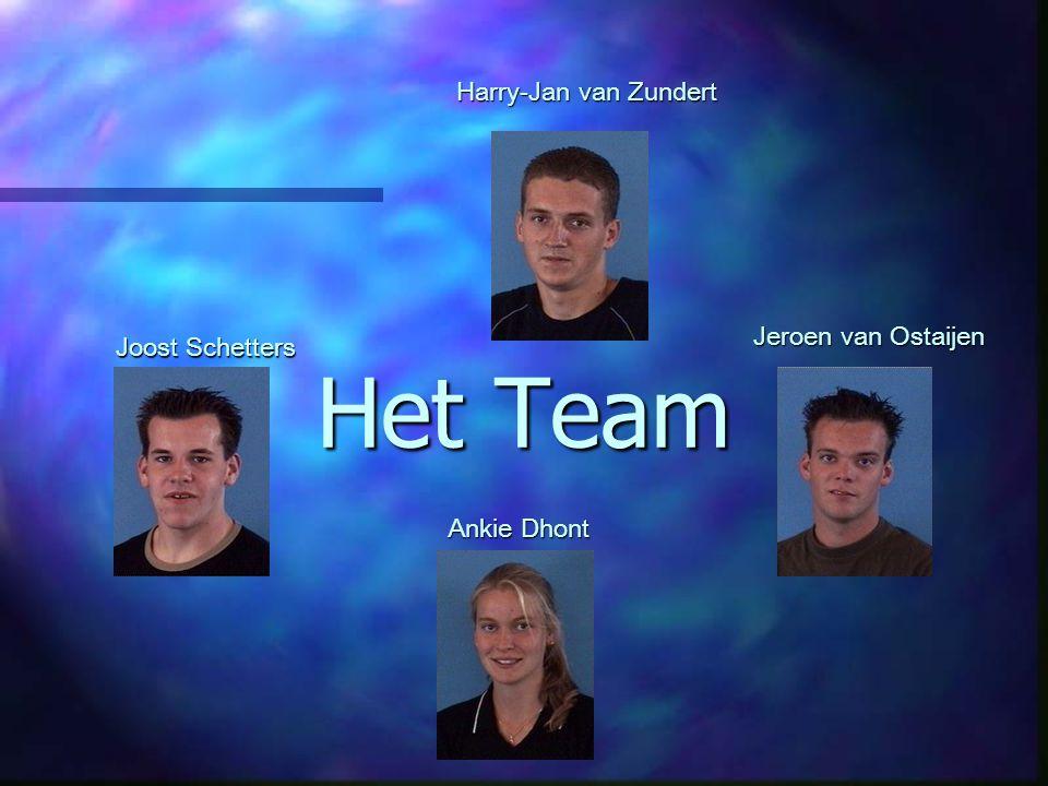 Het Team Harry-Jan van Zundert Jeroen van Ostaijen Joost Schetters