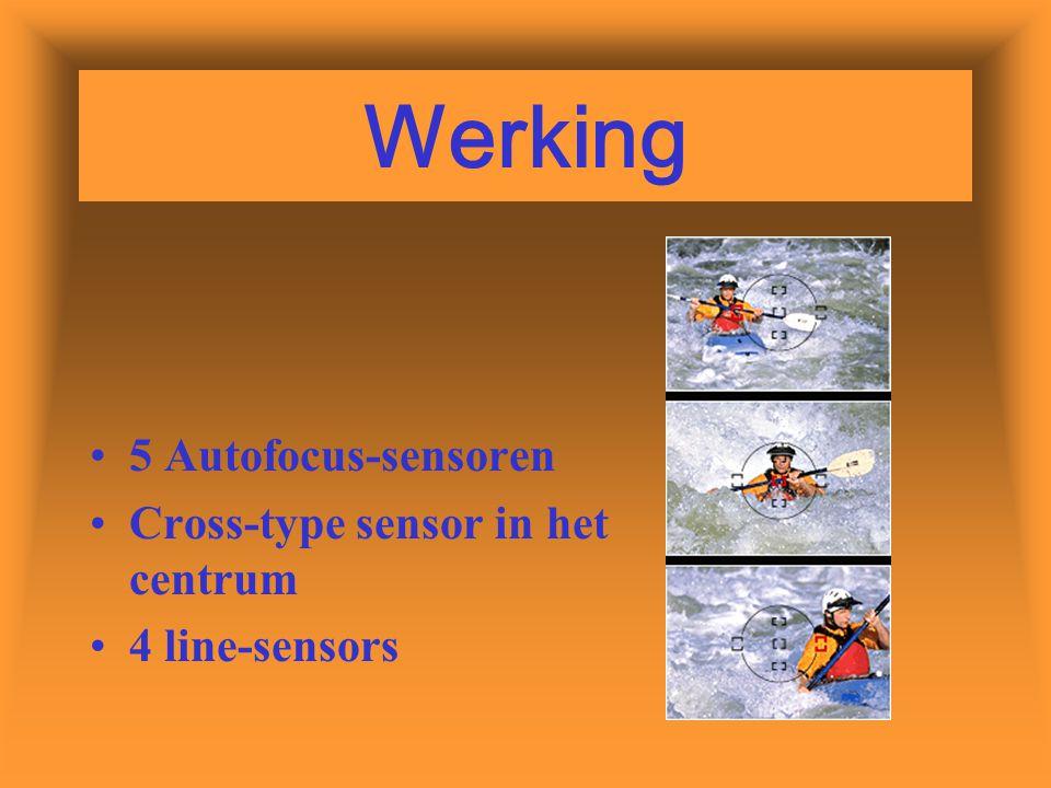 Werking 5 Autofocus-sensoren Cross-type sensor in het centrum