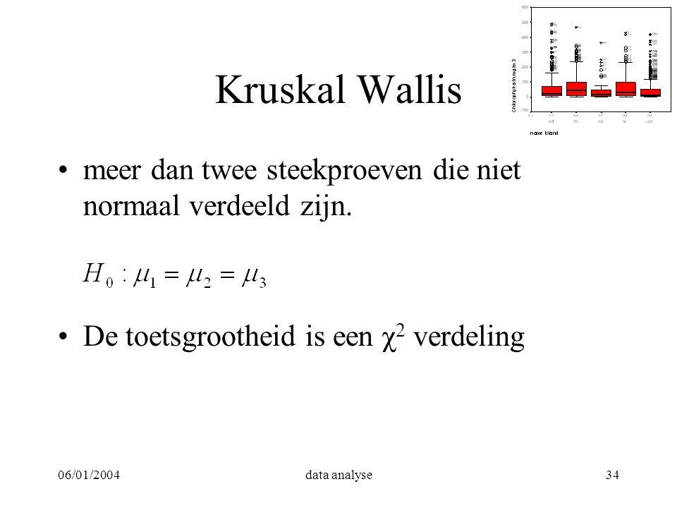 Kruskal Wallis meer dan twee steekproeven die niet normaal verdeeld zijn. De toetsgrootheid is een χ2 verdeling.