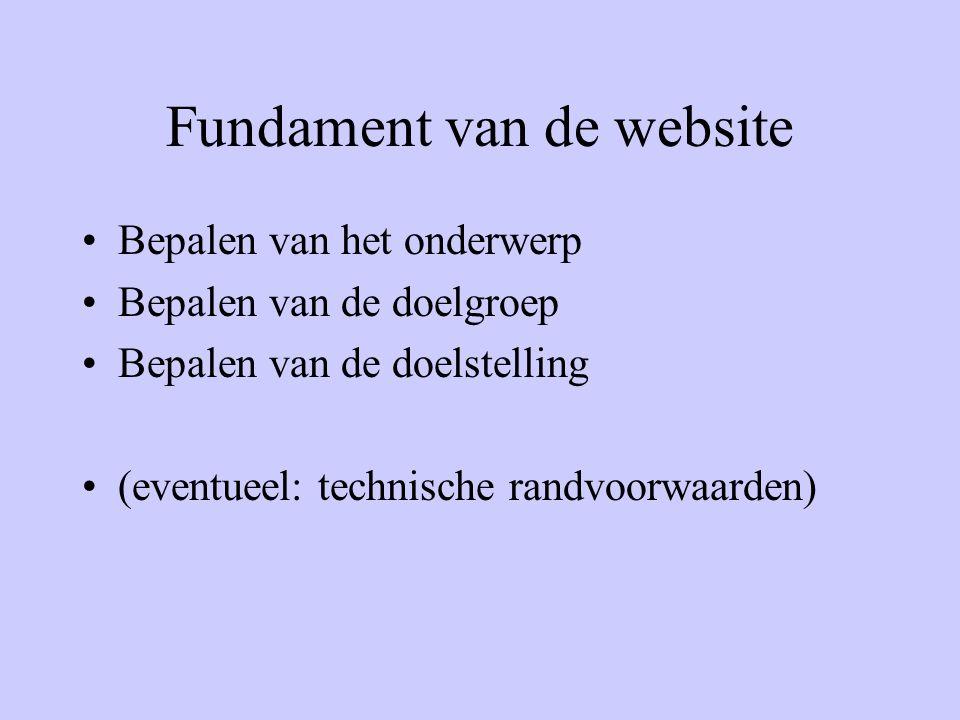 Fundament van de website