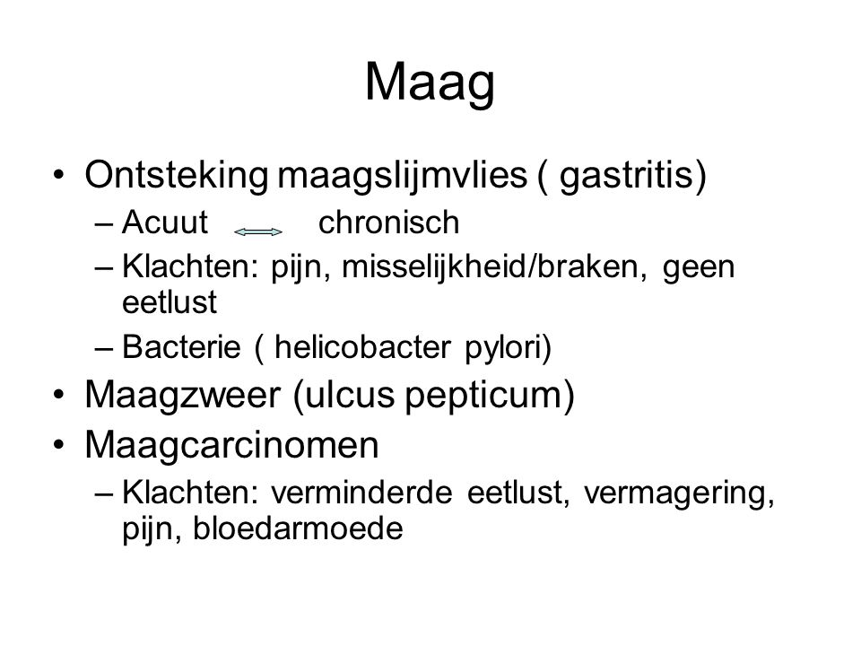 Maag Ontsteking maagslijmvlies ( gastritis) Maagzweer (ulcus pepticum)