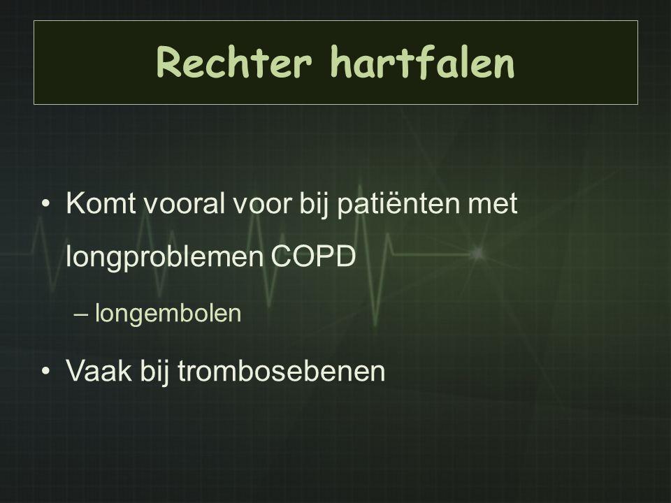 Rechter hartfalen Komt vooral voor bij patiënten met longproblemen COPD.