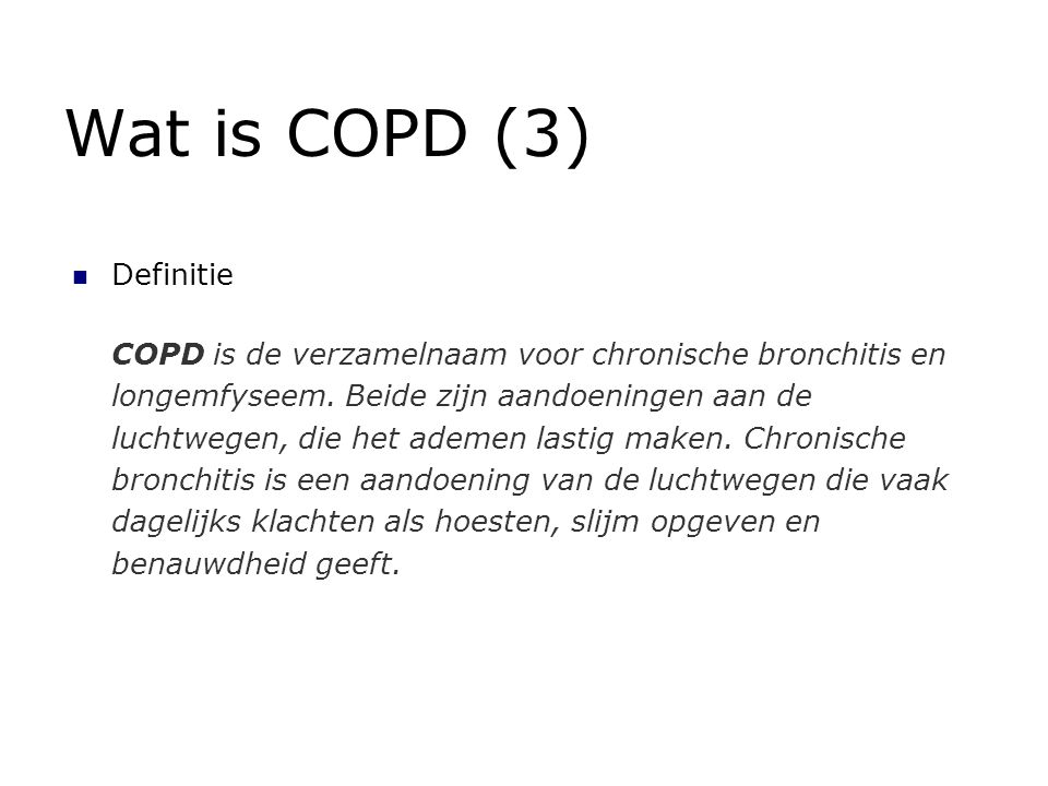 Wat is COPD (3) Definitie