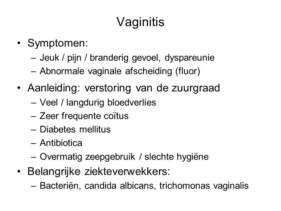 Vaginitis Symptomen: Aanleiding: verstoring van de zuurgraad