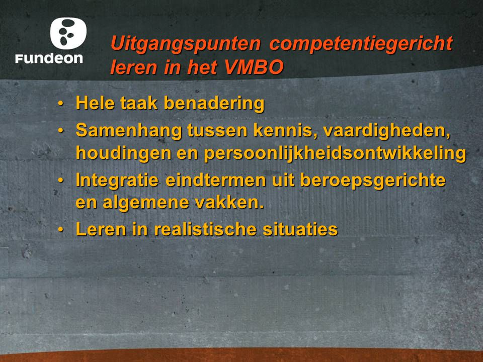 Uitgangspunten competentiegericht leren in het VMBO