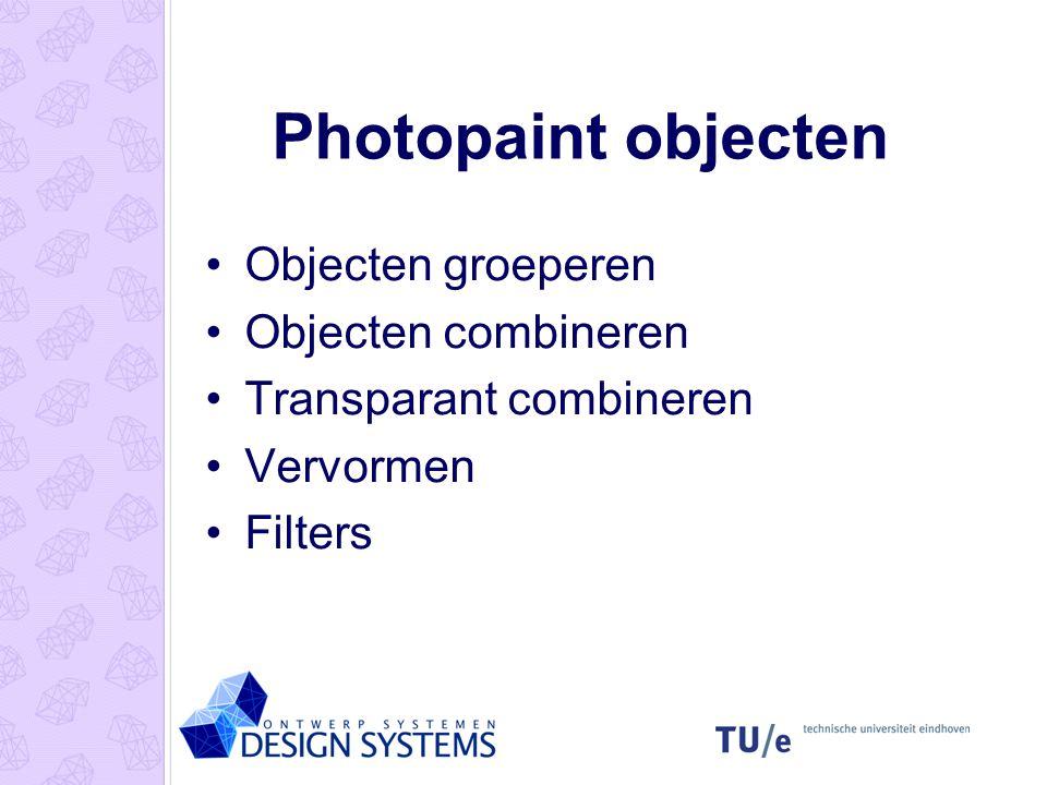 Photopaint objecten Objecten groeperen Objecten combineren