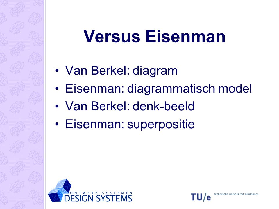 Versus Eisenman Van Berkel: diagram Eisenman: diagrammatisch model