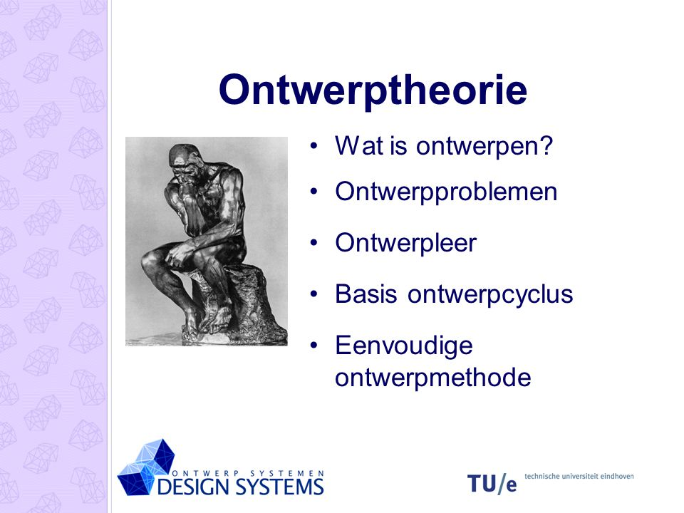 Ontwerptheorie Wat is ontwerpen Ontwerpproblemen Ontwerpleer