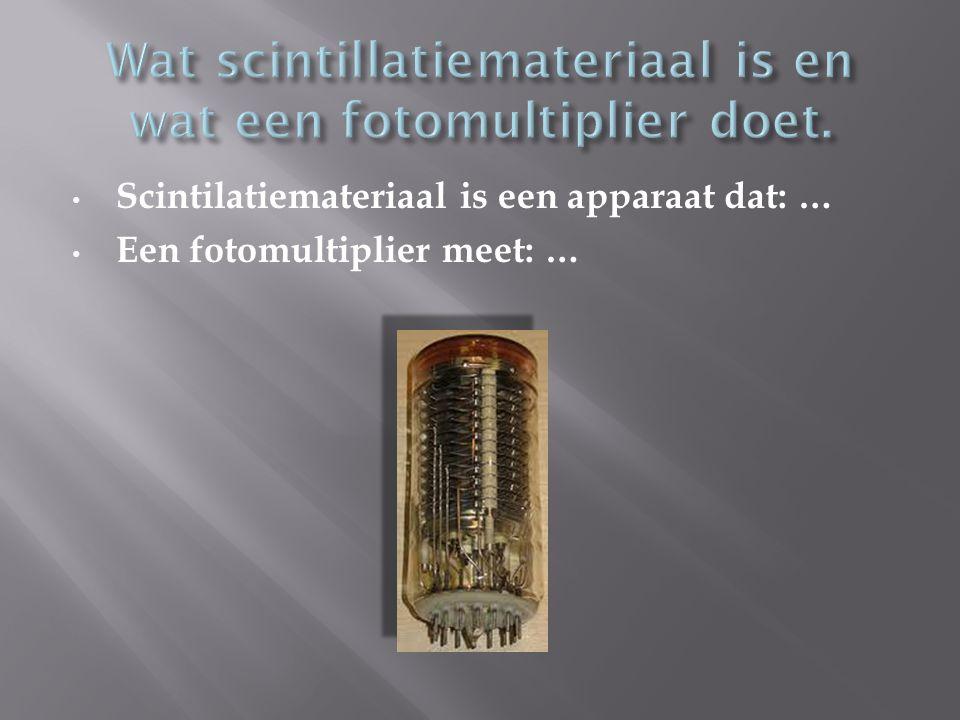Wat scintillatiemateriaal is en wat een fotomultiplier doet.