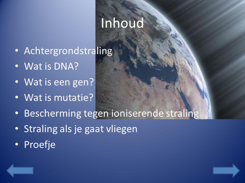 Inhoud Achtergrondstraling Wat is DNA Wat is een gen Wat is mutatie