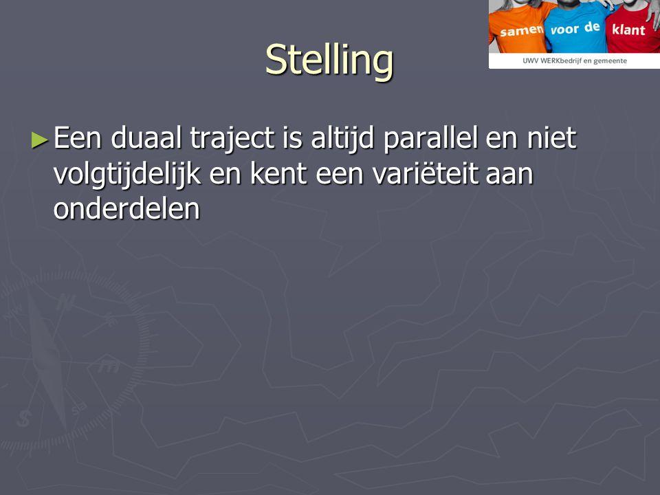 Stelling Een duaal traject is altijd parallel en niet volgtijdelijk en kent een variëteit aan onderdelen.