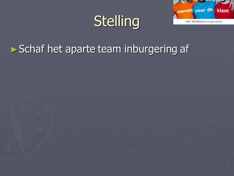 Stelling Schaf het aparte team inburgering af