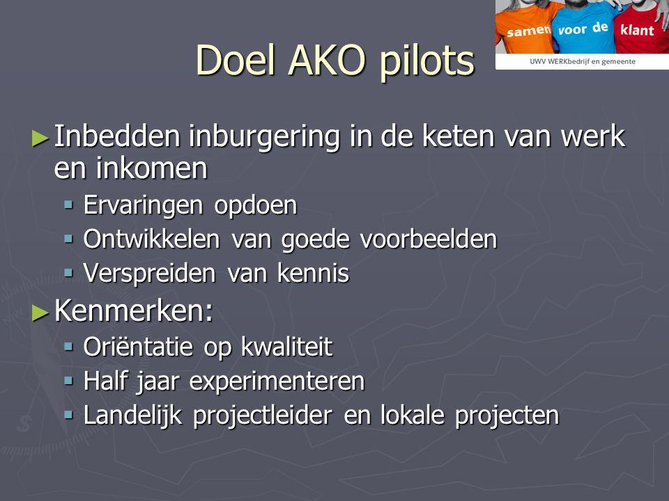 Doel AKO pilots Inbedden inburgering in de keten van werk en inkomen