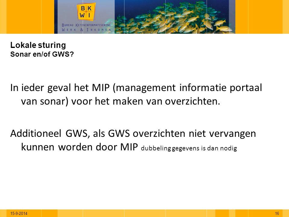 Lokale sturing Sonar en/of GWS