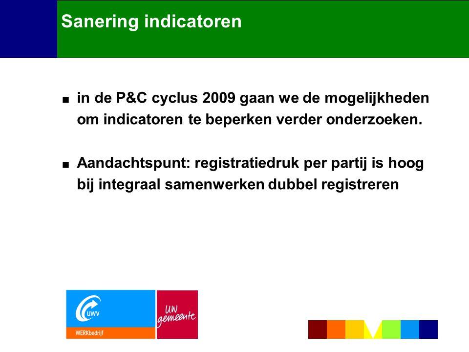 Sanering indicatoren in de P&C cyclus 2009 gaan we de mogelijkheden om indicatoren te beperken verder onderzoeken.