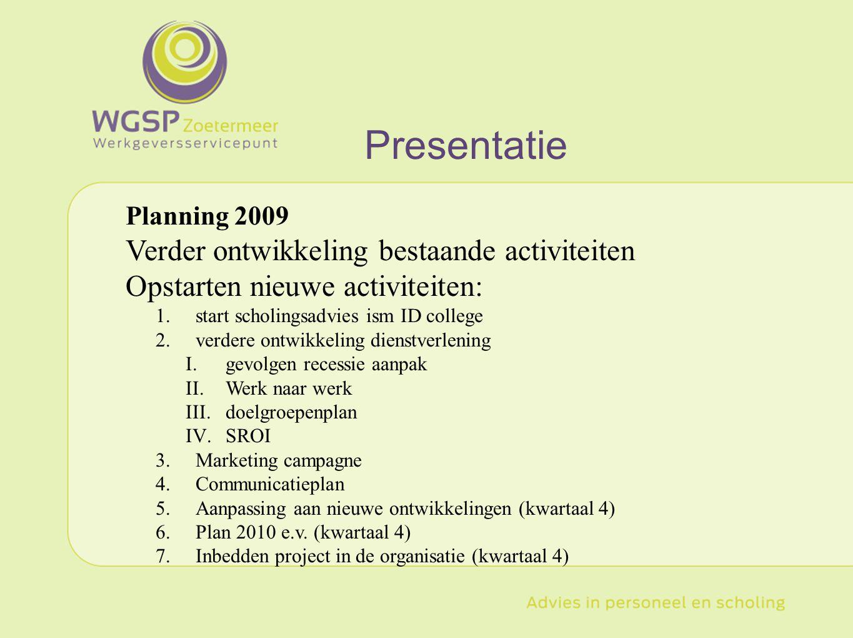 Presentatie Verder ontwikkeling bestaande activiteiten