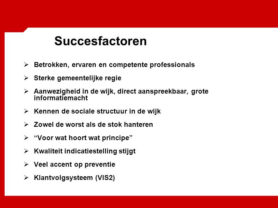 Succesfactoren Betrokken, ervaren en competente professionals