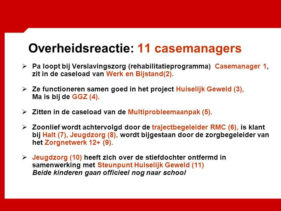 Overheidsreactie: 11 casemanagers