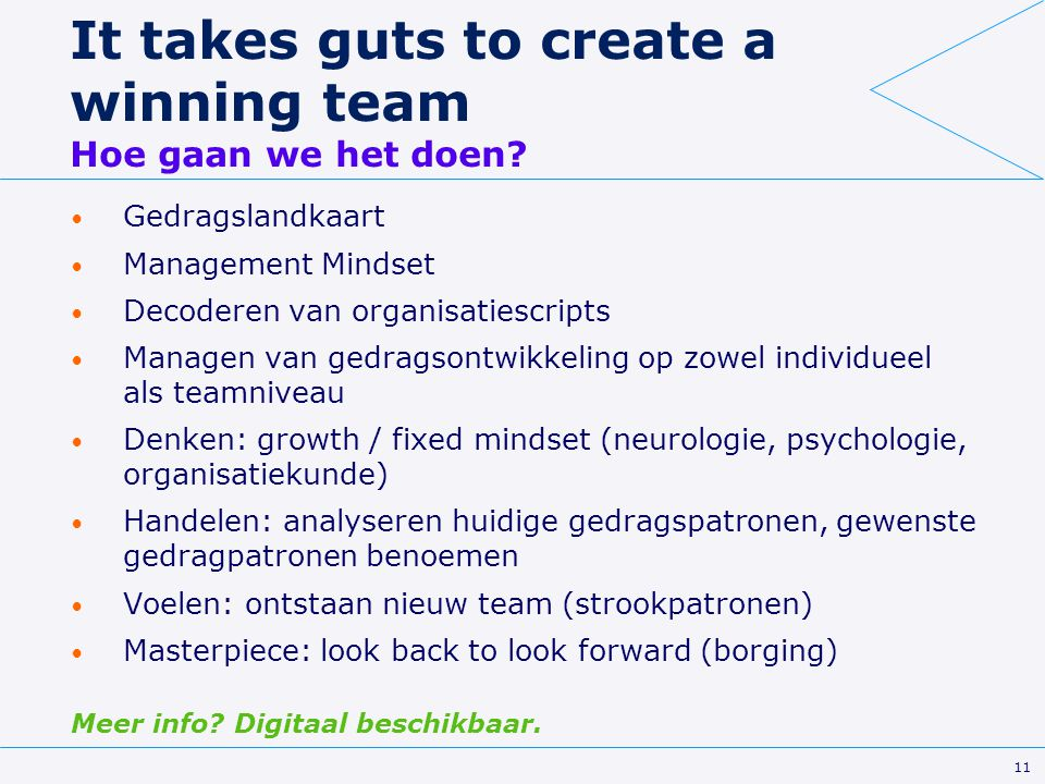 It takes guts to create a winning team Hoe gaan we het doen