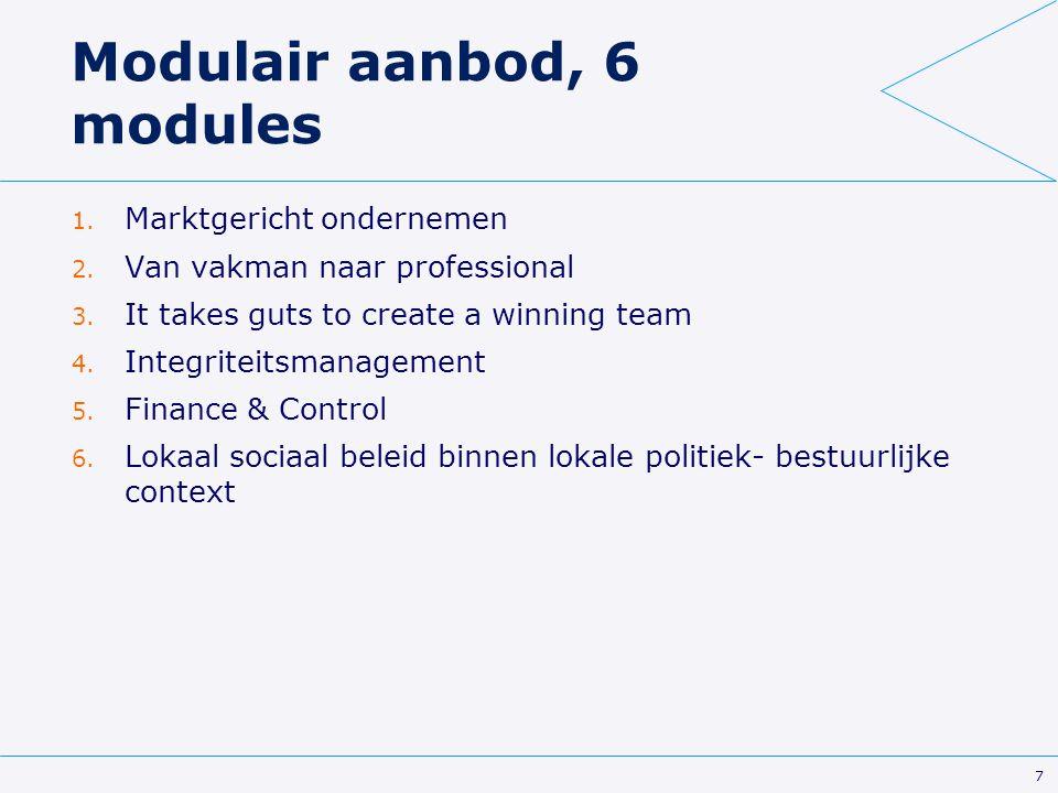 Modulair aanbod, 6 modules