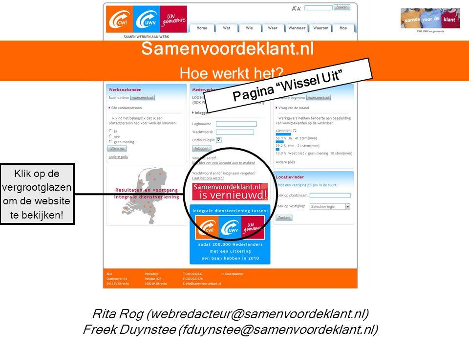 Samenvoordeklant.nl Hoe werkt het Pagina Wissel Uit
