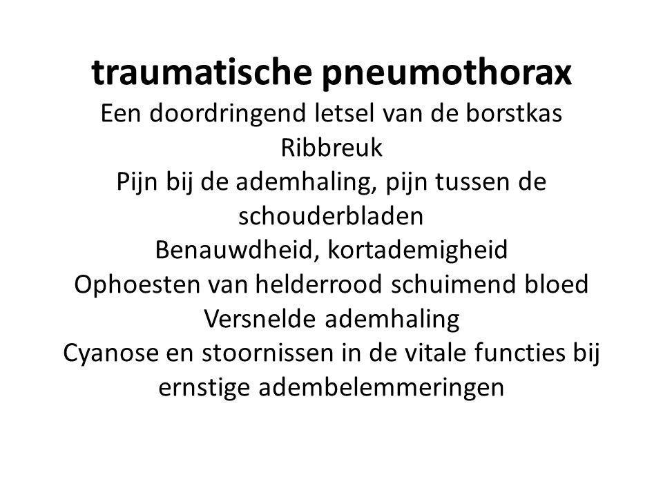 traumatische pneumothorax Een doordringend letsel van de borstkas Ribbreuk Pijn bij de ademhaling, pijn tussen de schouderbladen Benauwdheid, kortademigheid Ophoesten van helderrood schuimend bloed Versnelde ademhaling Cyanose en stoornissen in de vitale functies bij ernstige adembelemmeringen