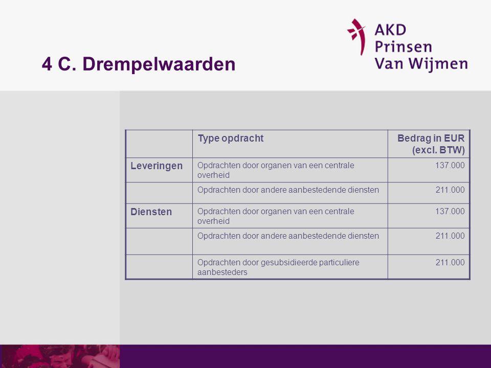 4 C. Drempelwaarden Type opdracht Bedrag in EUR (excl. BTW) Leveringen