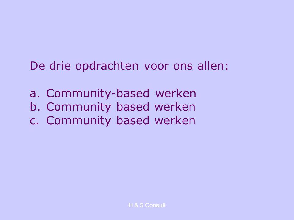 De drie opdrachten voor ons allen: Community-based werken