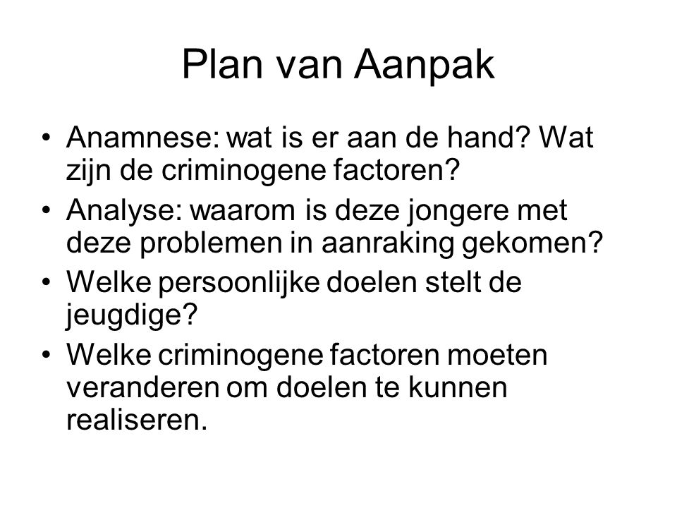 Plan van Aanpak Anamnese: wat is er aan de hand Wat zijn de criminogene factoren
