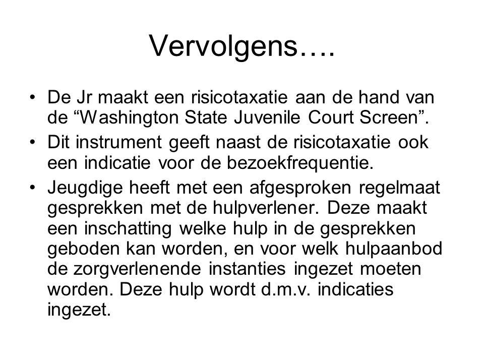 Vervolgens…. De Jr maakt een risicotaxatie aan de hand van de Washington State Juvenile Court Screen .