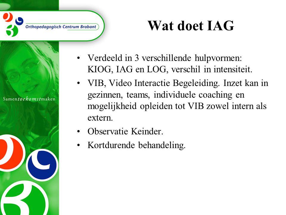 Wat doet IAG Verdeeld in 3 verschillende hulpvormen: KIOG, IAG en LOG, verschil in intensiteit.