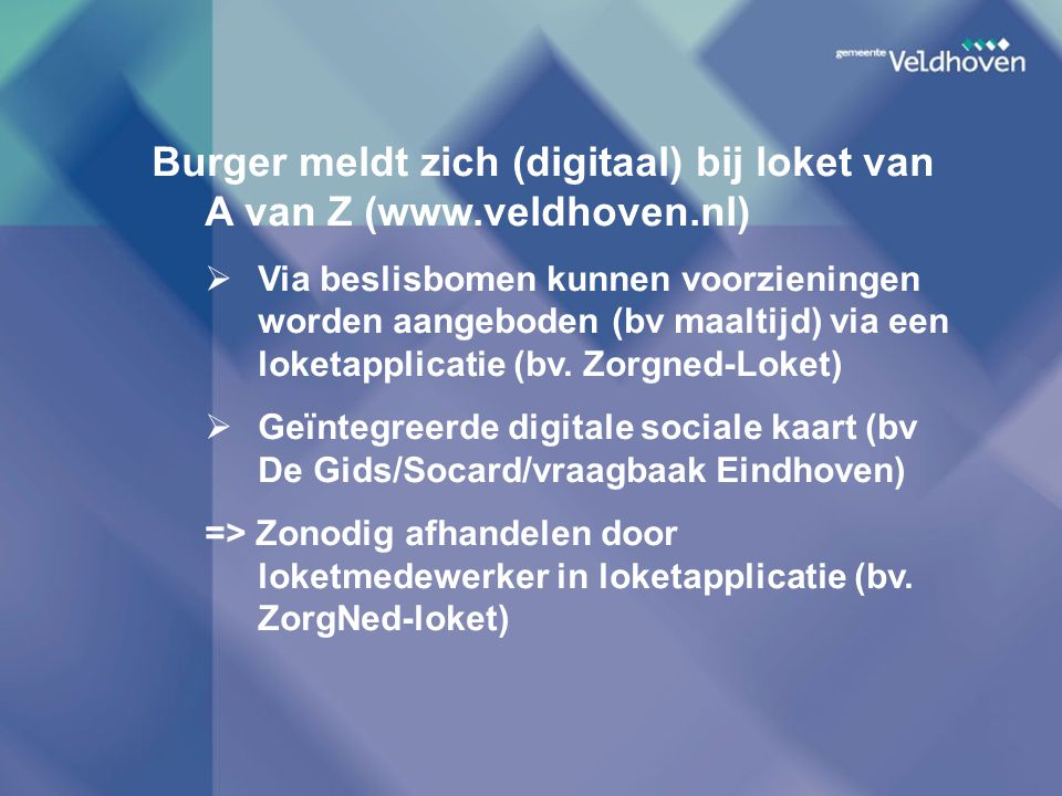 Burger meldt zich (digitaal) bij loket van A van Z (www.veldhoven.nl)
