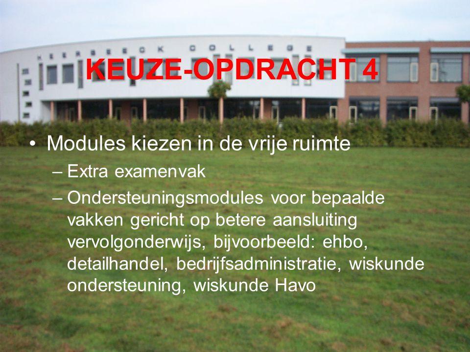 KEUZE-OPDRACHT 4 Modules kiezen in de vrije ruimte Extra examenvak