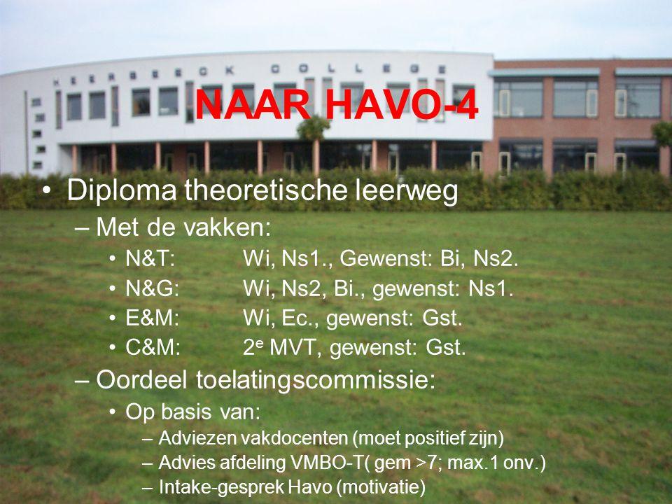 NAAR HAVO-4 Diploma theoretische leerweg Met de vakken: