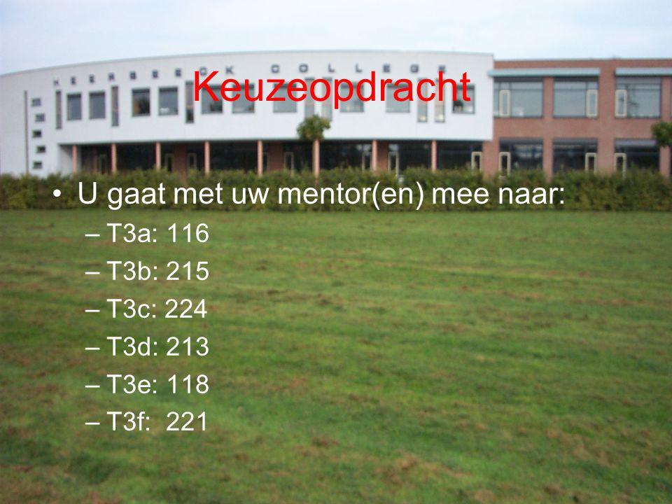 Keuzeopdracht U gaat met uw mentor(en) mee naar: T3a: 116 T3b: 215