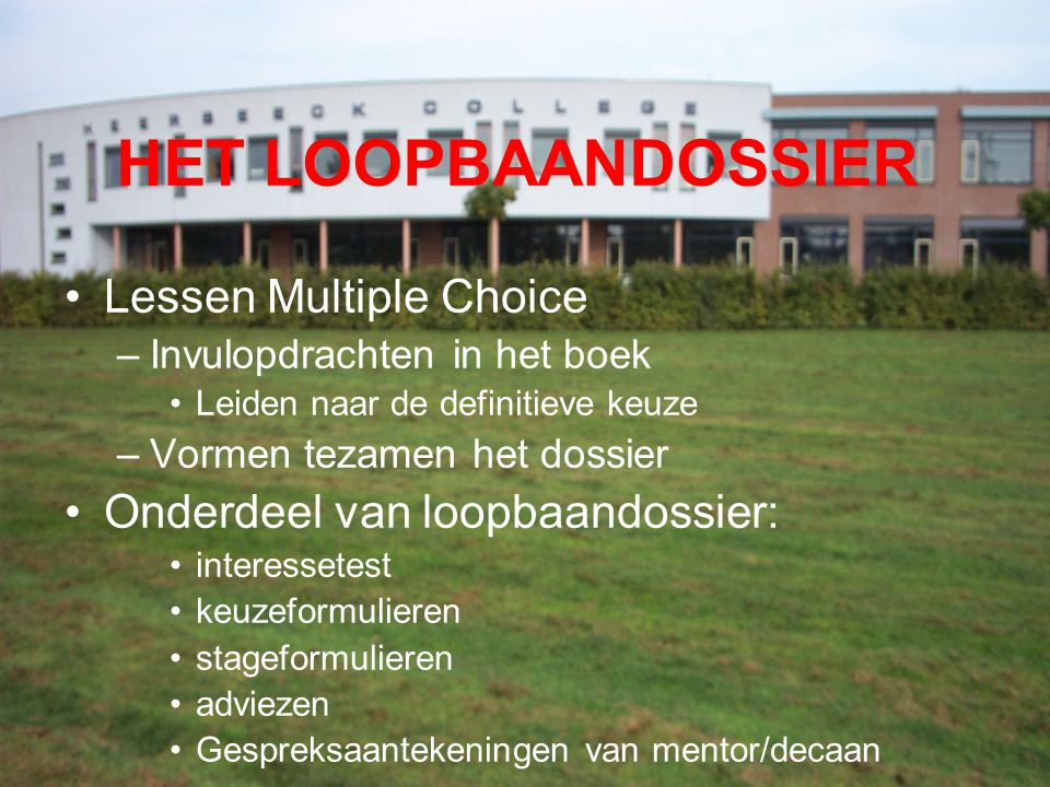 HET LOOPBAANDOSSIER Lessen Multiple Choice