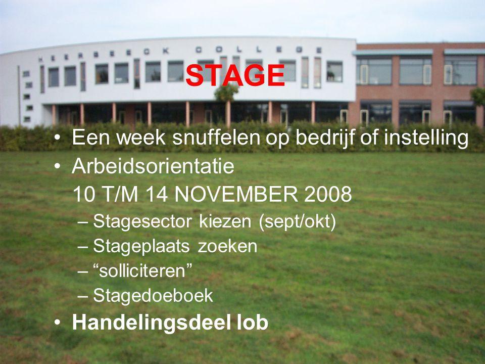 STAGE Een week snuffelen op bedrijf of instelling Arbeidsorientatie