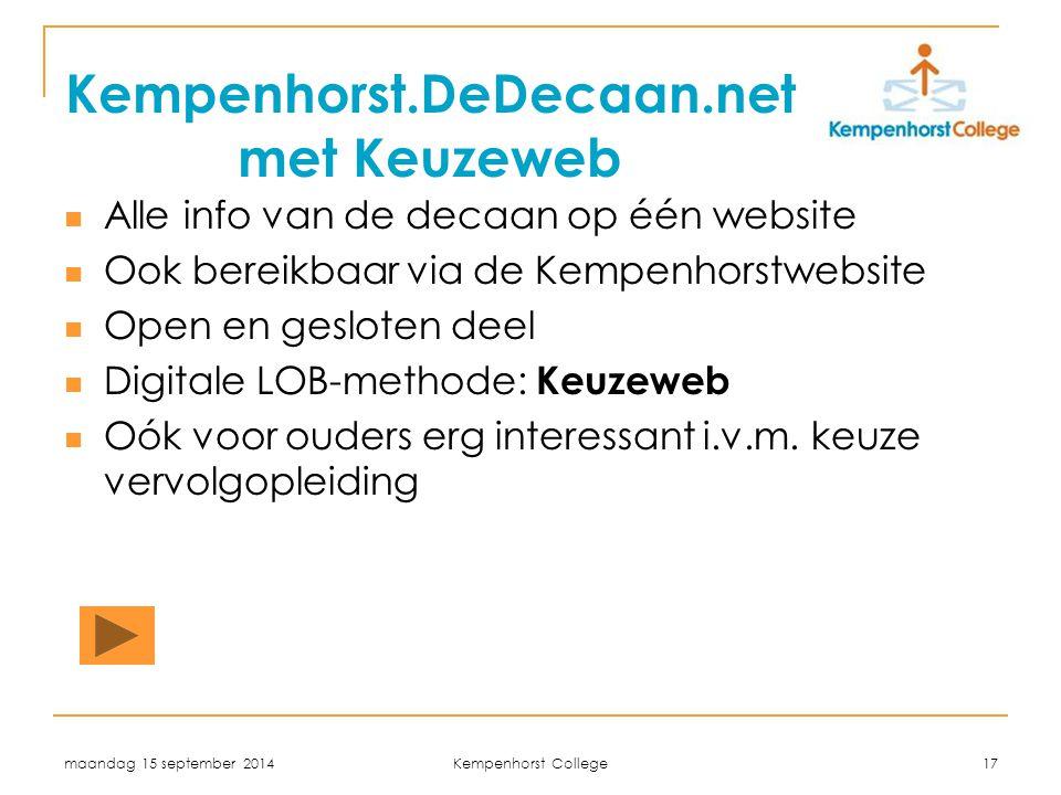 Kempenhorst.DeDecaan.net met Keuzeweb