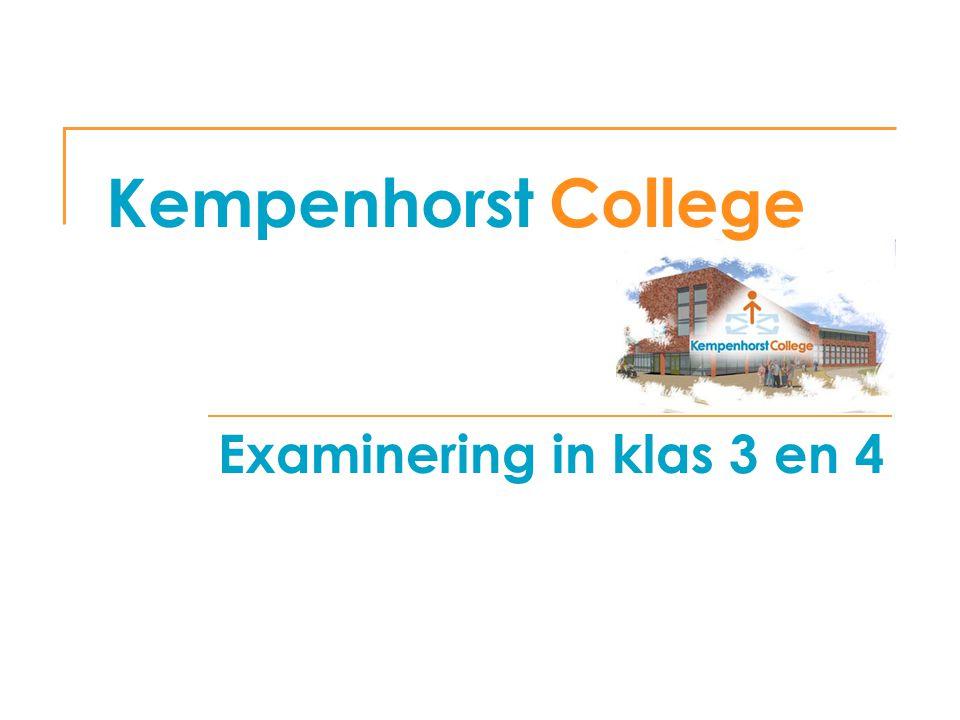Kempenhorst College Examinering in klas 3 en 4 woensdag 5 april 2017