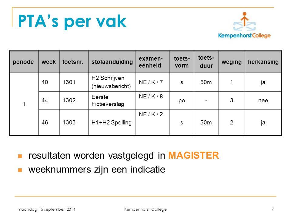 PTA's per vak resultaten worden vastgelegd in MAGISTER
