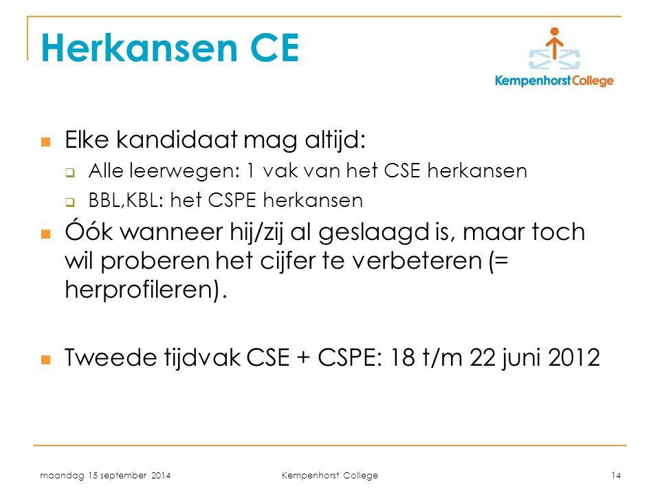 Herkansen CE Elke kandidaat mag altijd: