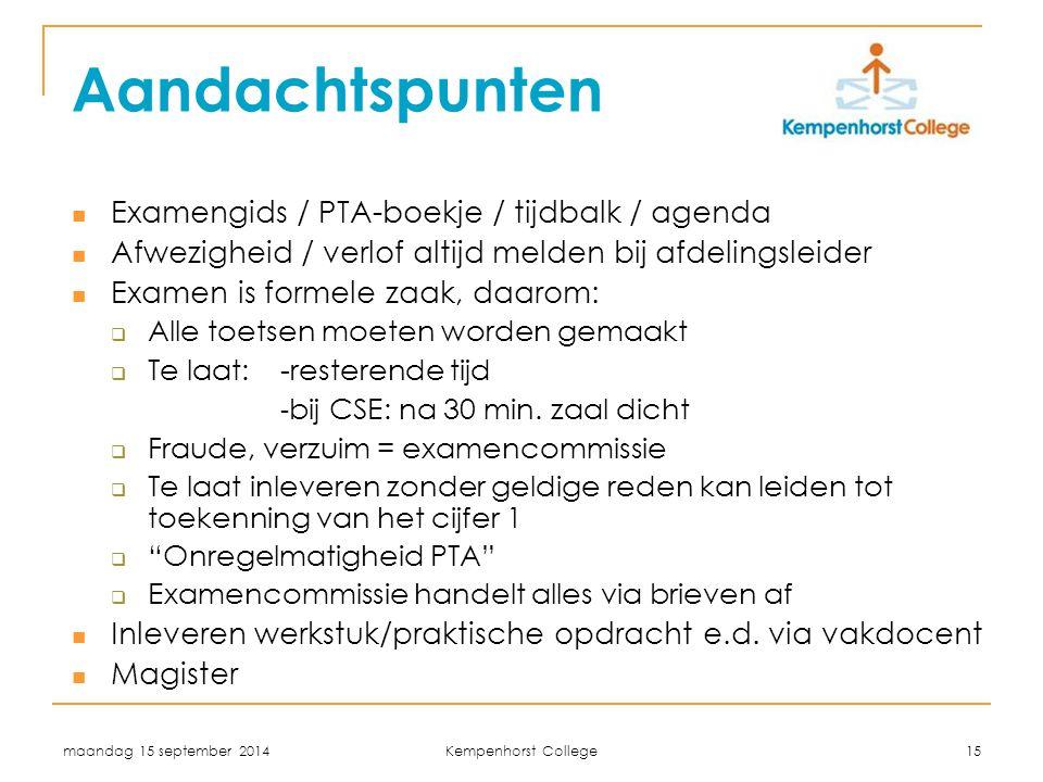 Aandachtspunten Examengids / PTA-boekje / tijdbalk / agenda