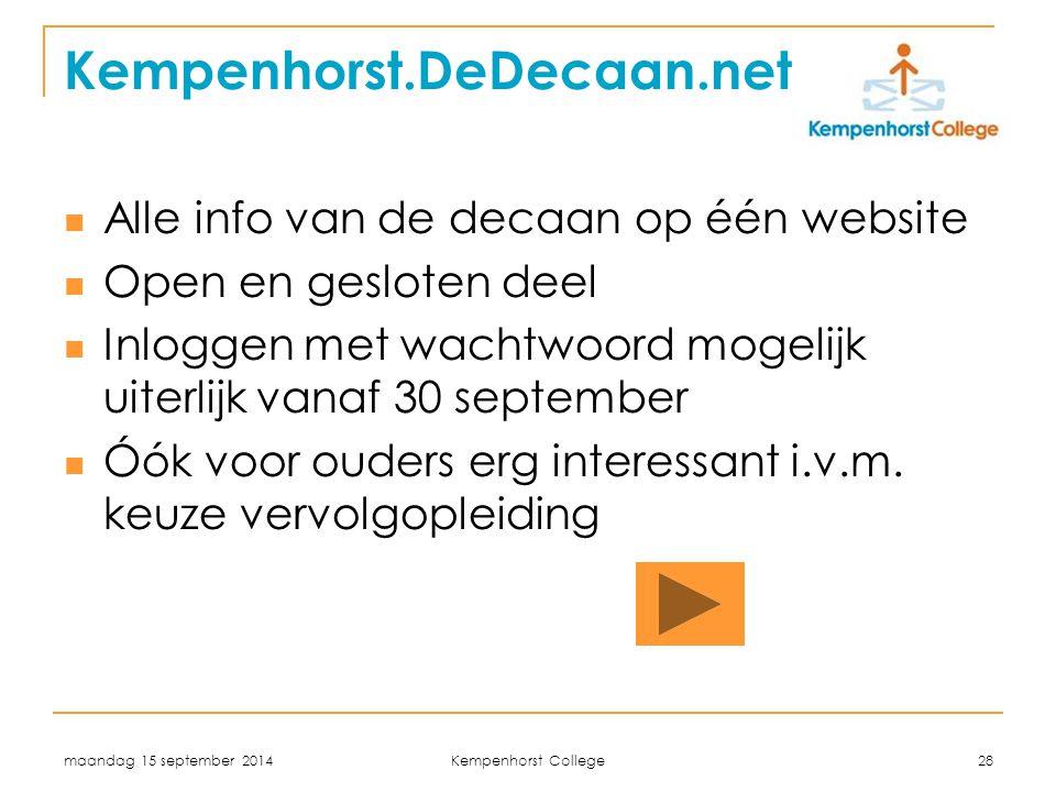 Kempenhorst.DeDecaan.net Alle info van de decaan op één website