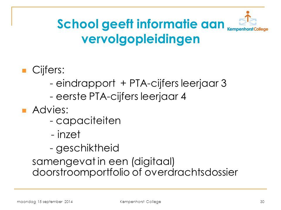 School geeft informatie aan vervolgopleidingen
